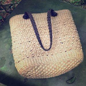 Vintage Dana Buchman Straw & Leather Handbag